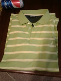green and white striped polo shirt Woodstock