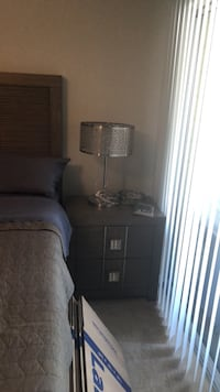 brown wooden base with white lampshade floor lamp Fairfax, 22030