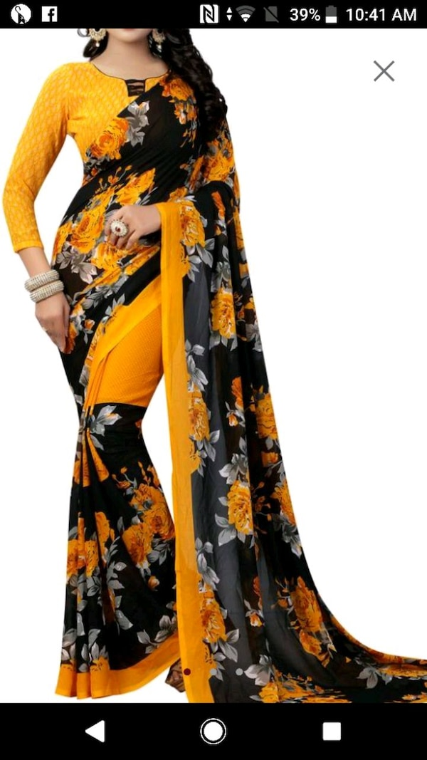 black and orange floral long sleeve dress