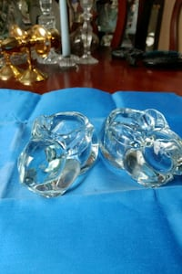 Glass rabbit candle holders.