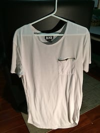 white crew-neck t-shirt with pocket