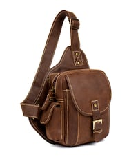 MANTIME BOOPDO DESIGN RETRO HANDMADE 8 INCH CHEST BAG IN BROWN