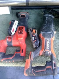 two black and orange Ridgid power tools Reno