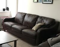 Black leather 3-seat sofa Washington, 20008