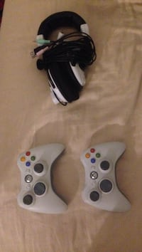 2 Xbox 360 controllers and turtle beach X11