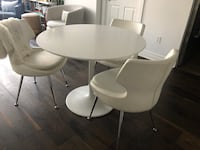 (4) Elte White Leather Dining Chairs Toronto, M4Y 0A3