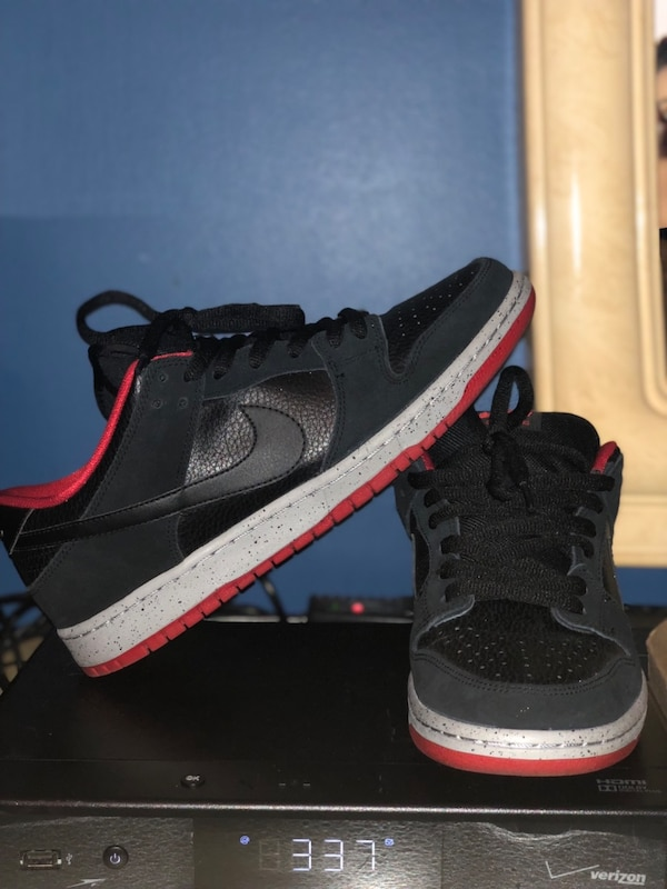 black-and-red Nike high top sneakers