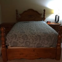 Brown wooden bed frame with white mattress Ashburn, 20147
