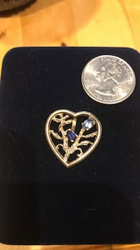 Heart shaped pendant, two gemstones, 10k gold Wasilla, 99654