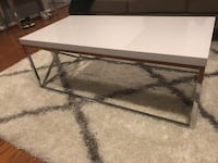 Modern White & Chrome Coffee Table Bowie