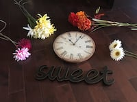 Home Decor-Clock. Wooden word and artificial flowers