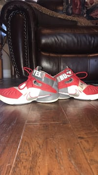 LeBron James shoes with Ohio State buckeyes strap but it can be removed