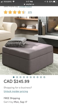 Storage bench ottoman in grey new in box never used Toronto, M3J 3C4