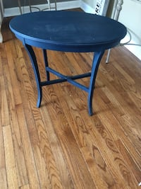 Round blue wooden side table Severn, 21144