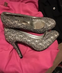pair of silver-colored platform stilettos Toronto, M1P 2P5
