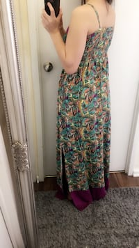 Green, red, and white floral sleeveless dress Toronto
