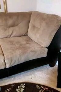 Light brown suede and leather sectional from a smoke free with no pets York, 17403