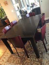 Dining table (expandable) + 6 red Italian leather chairs Temecula, 92592