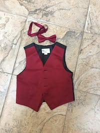 Burgundy Toddler Vest And Bow Tie 3t