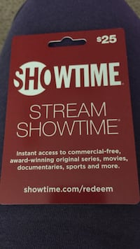 $25. SHOWTIME GIFT CARD