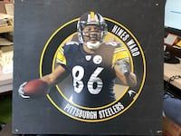 """Hines Ward Fat Head. 24""""x30"""". Mounted on painted black plywood New Castle, 16101"""