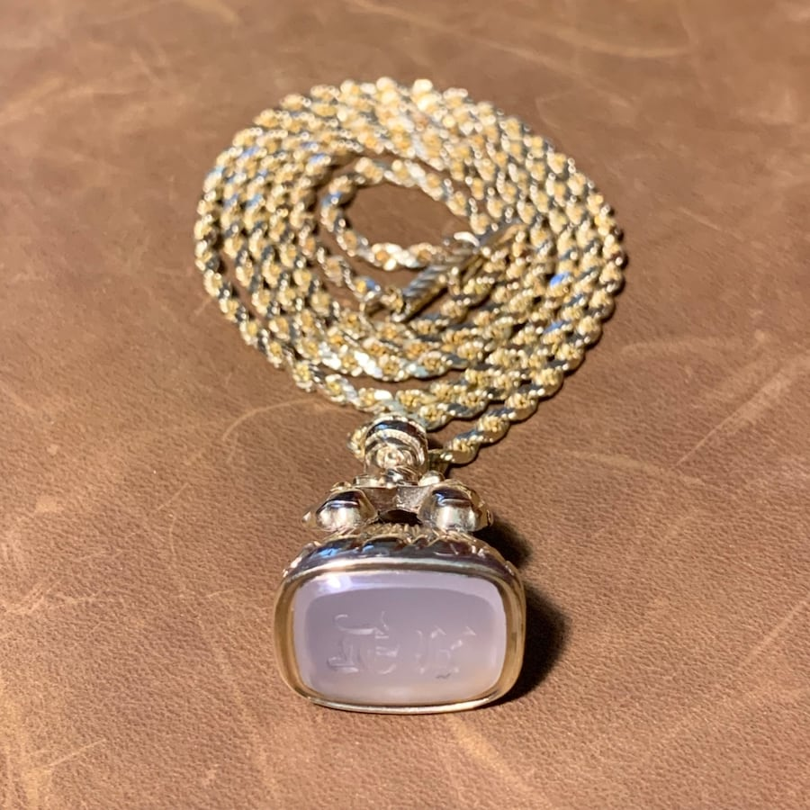 Antique 14k Yellow Gold Watch Fob Pendant with 14k Rope Chain d4d05ba8-a78e-4790-9dff-f125f6c8d8ce