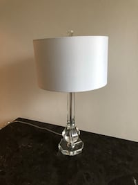 Set of 2 included! Beautiful Restoration Hardware inspired lamps with a beveled glass base and white lampshades. No stains on the lampshades and in virtually perfect condition. Lightbulbs are not included Seattle, 98112