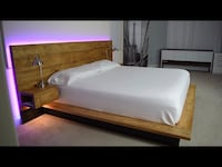Custom made to order bed frame with floating nightstands and LED lights Dumfries, 22025