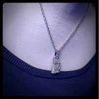 Silver Rhinestone Lock Necklace
