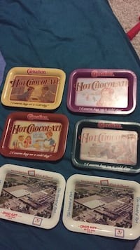 Carnation Tin Trays Vintage Brampton