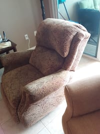 brown floral fabric sofa chair LARGO