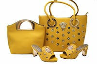 women's yellow leather bags and pumps