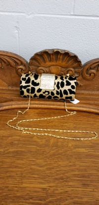Gold and Leopard print clutch