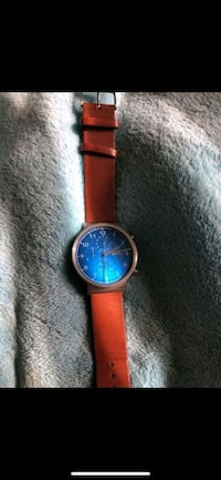 round blue skagen watch with brown leather strap Temple, 76504