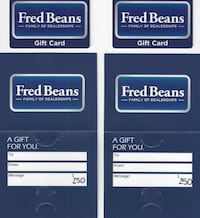 2 Fred Beans Auto Dealership Gift Cards $250.00 ea PHILADELPHIA