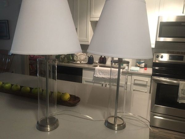 Two Glass base lamps and shades a6d5b1fa-abb2-4819-938c-78efd27d87f8