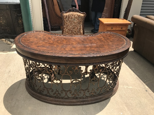 Kidney Shape Wood And Wrought Iron Desk With Chair