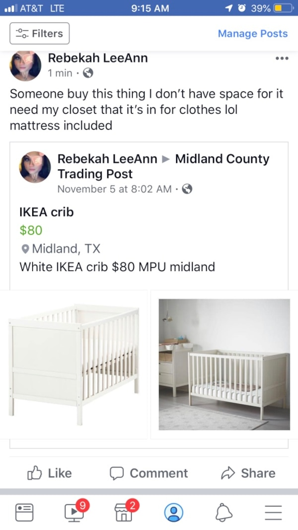 Used White wooden crib with changing table screenshot for