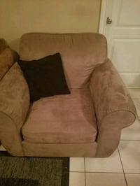 brown suede sofa chair with ottoman Vancouver, V5P 2S6