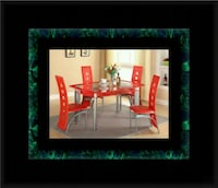 Glass red dining table with leather chairs 43 mi