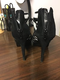 pair of black leather open toe ankle strap heels Randallstown, 21133