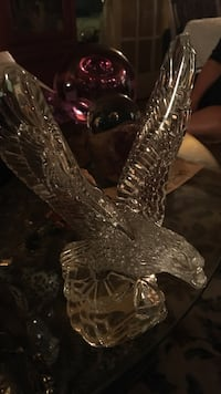 clear glass bald eagle figurine