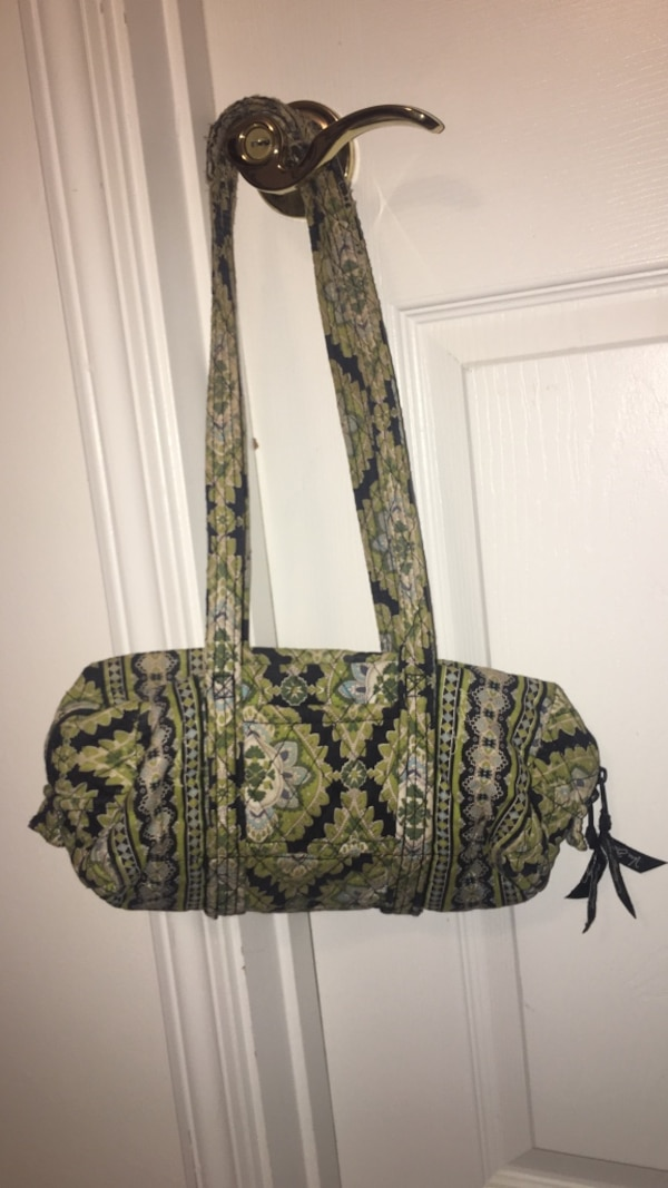 women's green and blue floral shoulder bag