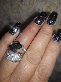 silver-colored ring with clear and black gem stone West Covina, 91790