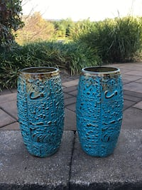 two blue and gold vases