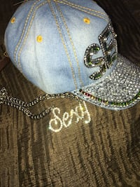 Denim leather strap adjustable cap w/ necklace  2343 mi