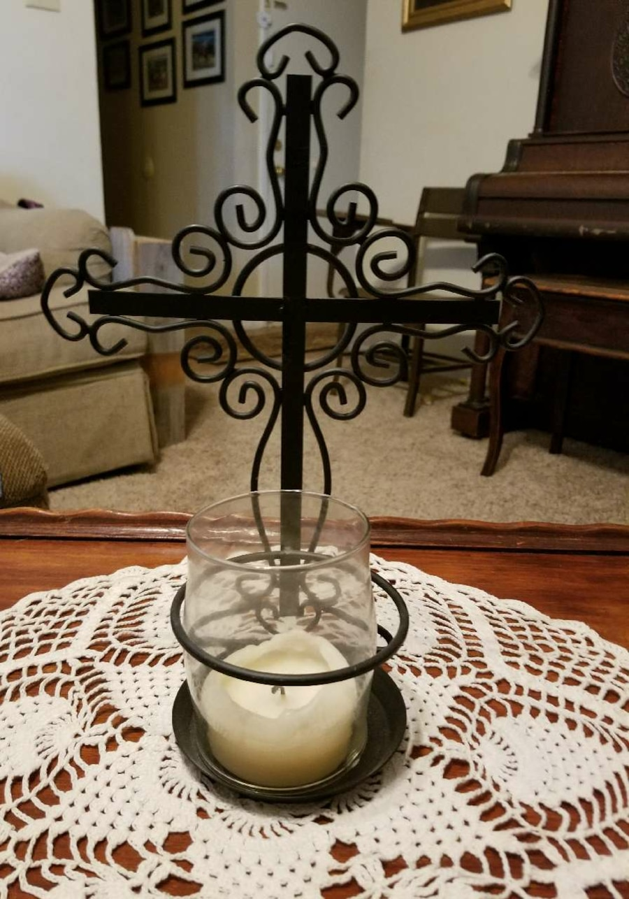 Decorative Cross with Candle - TX