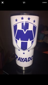 white and blue rayados tumbler  Houston, 77055