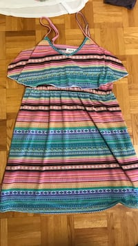 Blue, pink, and green stripe sleeveless dress size medium  Lake Country, V4V 1G9