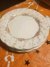 Set of 4  8' plates pinkflowers or green